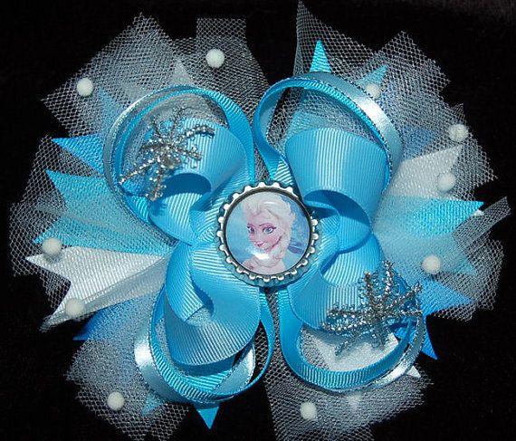 frozen elsa hair bow girls ribbon ott bow by RoshelysBowtique, $10.00