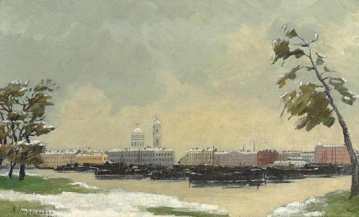 Осень в Петрограде 1916 Холст масло (700x424, 53Kb)
