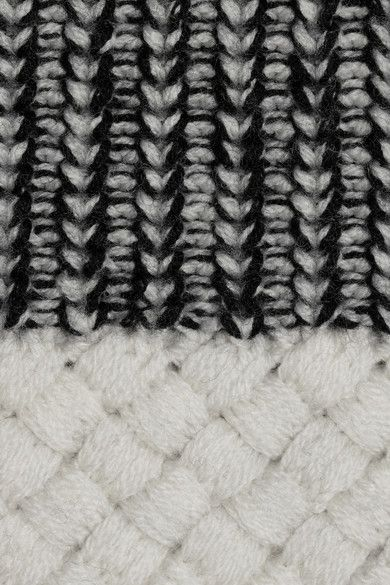 Monochrome knit detail with contrasting textures & woven panel; knitwear; textiles for fashion// Proenza Schouler