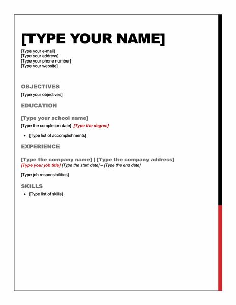 quick easy resume free