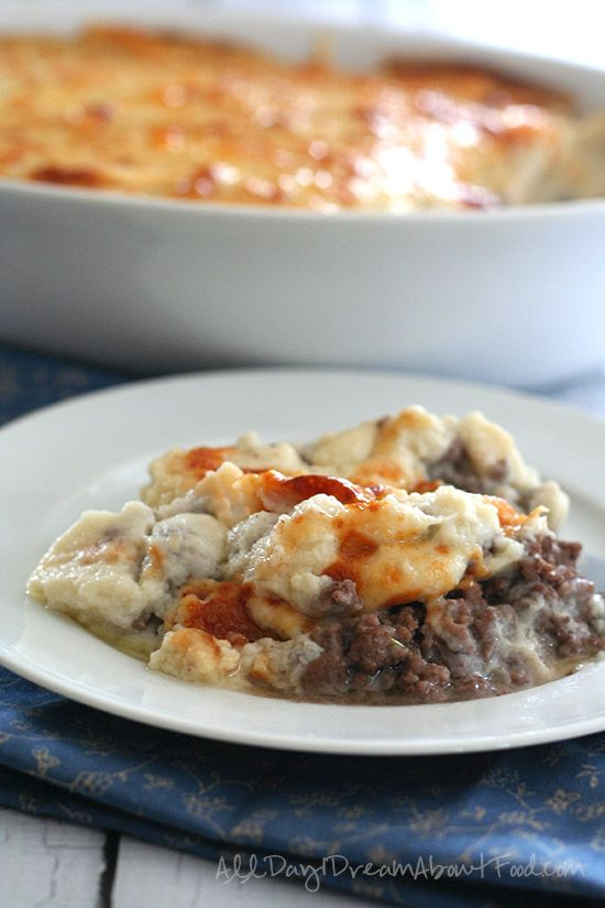 Low Carb Shepherd's Pie Recipe  SHEPHERD'S PIE.  Yummy!  I will make this with beef.  (Low carb w/cauliflower mash as a sub for mashed potatoes).   Traditional Shepherd's Pie gets a low carb makeover with some mashed cauliflower and cheddar cheese. Comfort food at its finest! Comfort food alert! Comfort food alert! It's quickly getting to that...