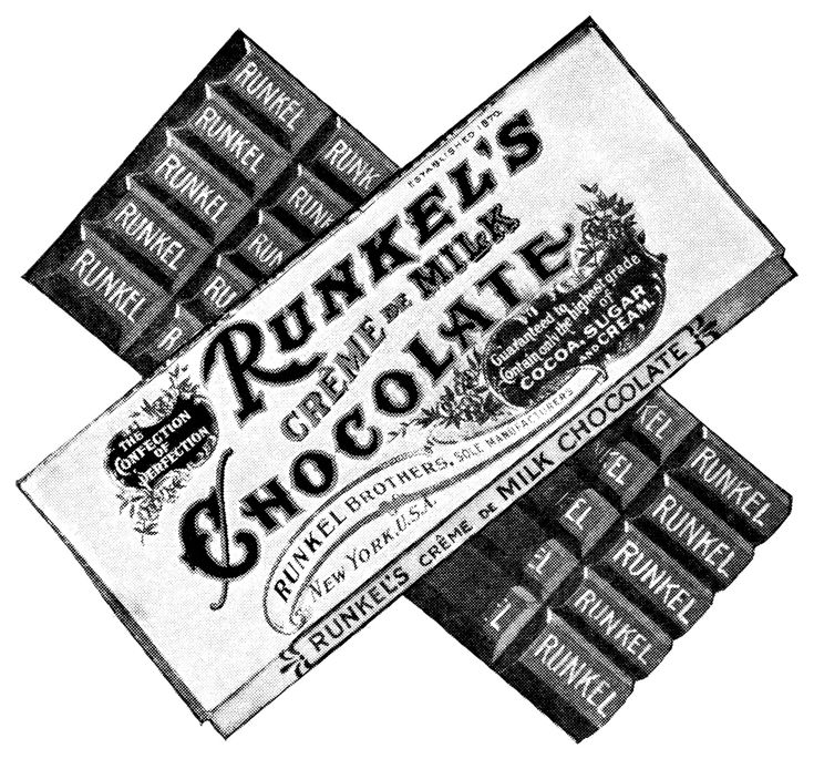 Runkel's Bar of Chocolate ~ Free Vintage Clip Art