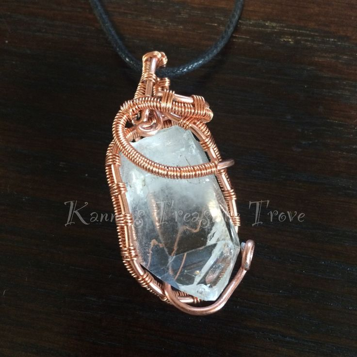 Quartz Point Clear Lemurian Quartz Copper Necklace Wire Wrapped Jewelry Pendant Beautiful Water clear Crystal - pinned by pin4etsy.com