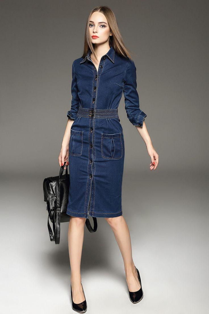 Best 25 Ropa De Jeans Images On Pinterest Feminine Fashion Jolie Clothing Donita Jumpsuit Navy L Blue V Neck Long Sleeve Casual Buttoned Denim Midi Dress