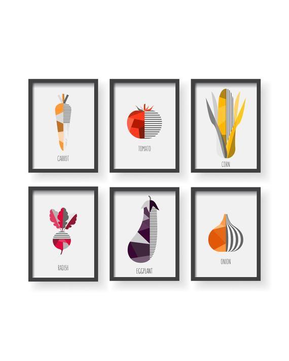 Vegetable Print Set Of 6 Geometric Veggie Kitchen Decor Veggies Art Botanical