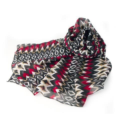 PAREO SCIARPA TENGANA  -  Grazioso pareo - sciarpa in vaporoso e soffice chiffon stampato, 100% poliestere.  Dimensioni: cm 110x150