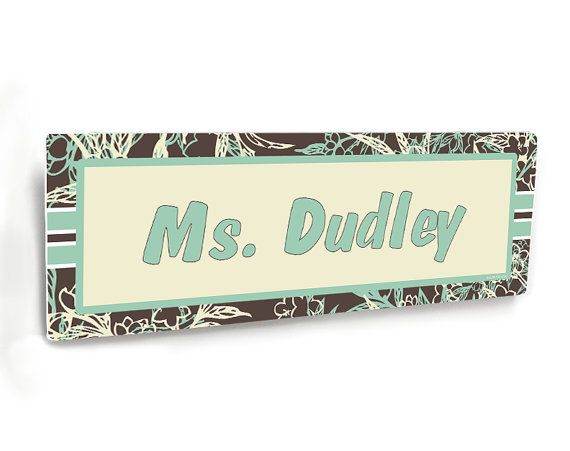 personalizable male teacher class door name plate brown and green flourish…