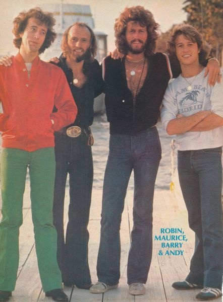 THE BEE GEES.... & their brother ...ANDY GIBB..... Love this photo!