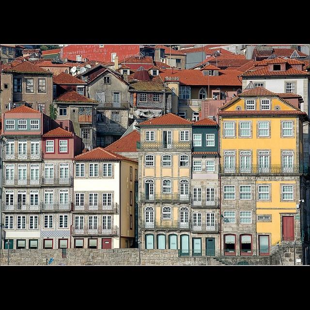 Houses boarding the river, Porto, Portugal