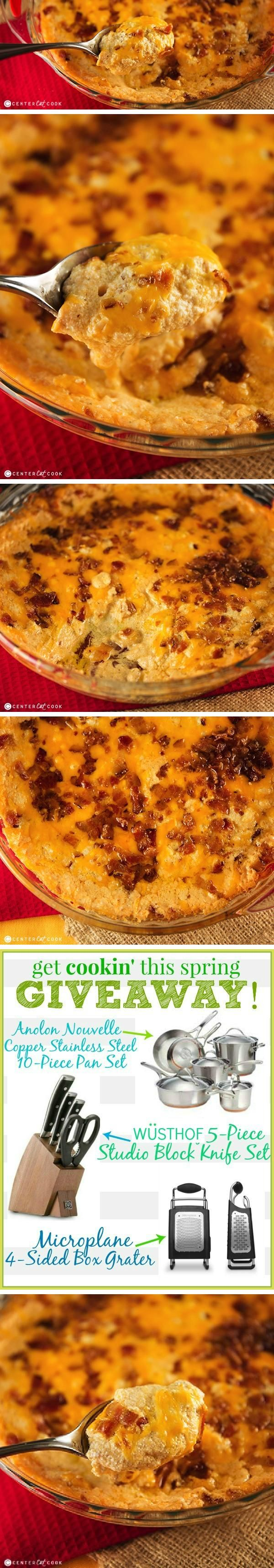 BACON CHEDDAR DIP: Extra sharp cheddar cheese is combined with lots of bacon, cream cheese, sour cream, mayonnaise and just the right seasonings. Then it's topped with more bacon and cheddar cheese, and baked until warm and bubbly.
