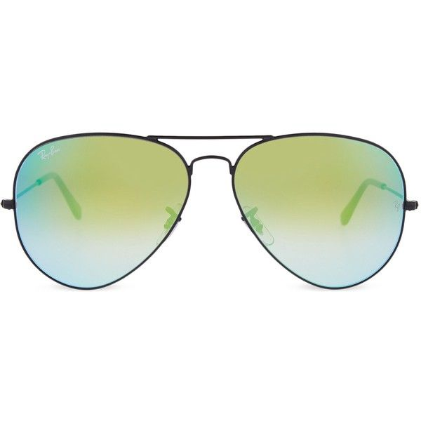Ray-Ban RB3025 large flash Aviator sunglasses ($155) ❤ liked on Polyvore featuring accessories, eyewear, sunglasses, folding glasses, ray ban glasses, summer sunglasses, ray ban aviator and ray ban sunglasses