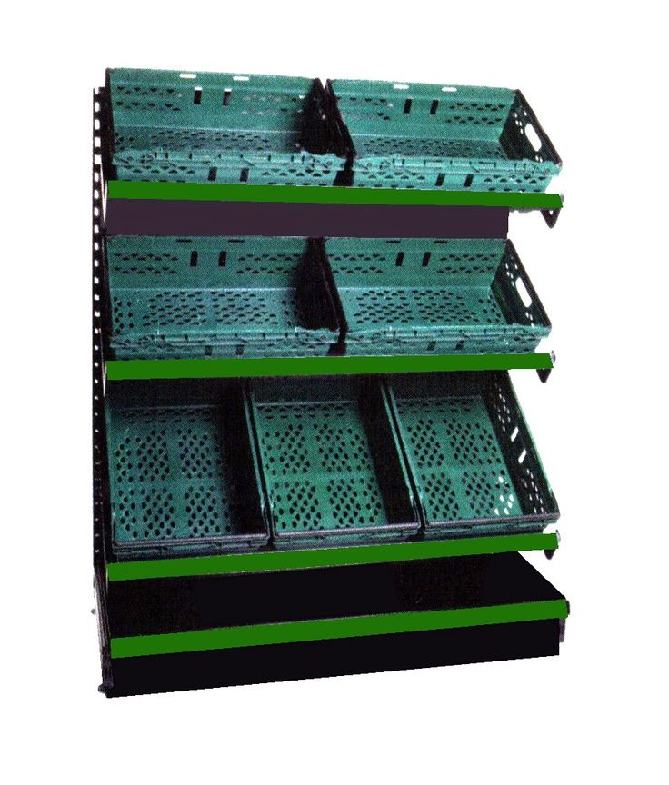 Heavy duty shop shelving with green fruit and vegetable plastic trays. Ideal supermarket shelving or perfect for a busy convenience shop display.  #metalshelving #groceryshelving #greentrays #shelving  For all #shopfittings and shelving accessories visit us a one stop shop for low cost retail shopfittings