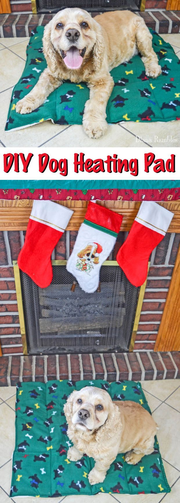 DIY Dog Heating Pad Tutorial - Make this Dog Heating Pad to keep your pooch warm during the cold of the winter. Your pet will love this heating bed. AD #PAWsomeGifts #ClausAndPaws
