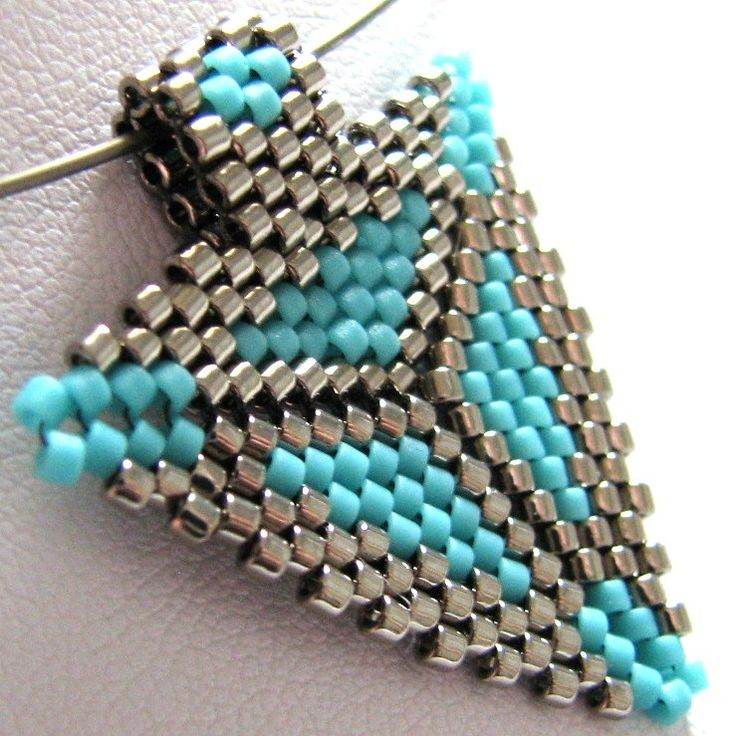 Southwestern Triangle Pendant in Turquoise and Steel (2322) - A Sand Fibers Made-to-Order Creation.