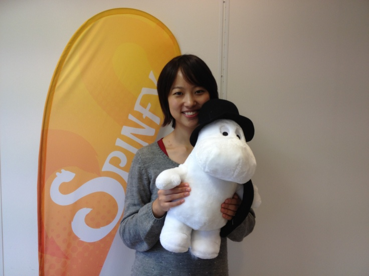 We had a Moomin fan visiting Spinfy office today. Saki was very excited to test our upcoming Moomin app :)