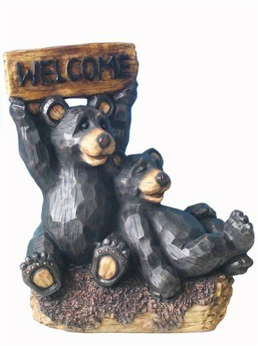 Two Large Cute Bears Statue With Welcome Sign For Garden Decor 22 Inch By Domani 59 90 Realistic Looking Bear Figurine Holding Si