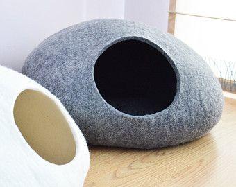 PET Bett / Bett Katze / Cat Höhle / Welpen Bett / cat Haus / Haustier Möbel. Benutzerdefinierte Farbe Hand felted Eco freundliche Katze Bett-Größen: S, M, L oder XL