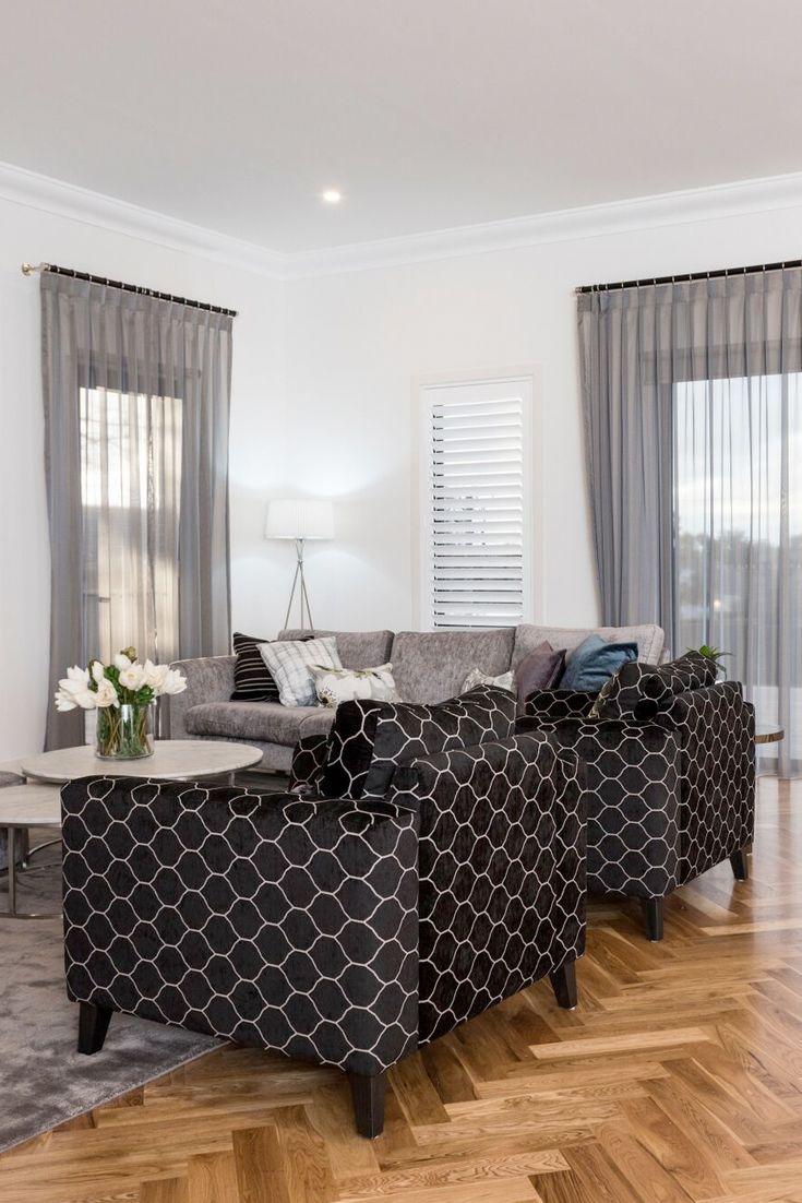 Patterned custom armchair for living room design.