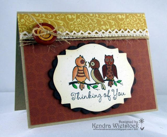 Stamp-it Australia: 3999D What a Hoot - Card by Kendra Wietstock for Crafter's Companion