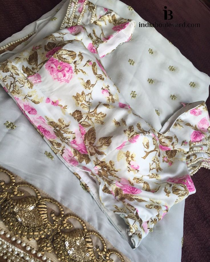 """ Floral #Choli Blouse in pearl trims paired along with a white sequin & zari work embroidery. For all prices and inquries, please email us at inquiries@indiaboulevard.com or visit us at indiaboulevard.com """