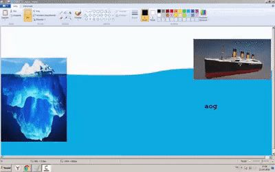 Sinking of the Titanic processing in MS Paint