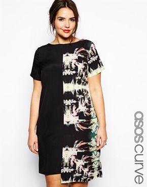 ASOS CURVE Exclusive Shift Dress In Palm Blocked Print