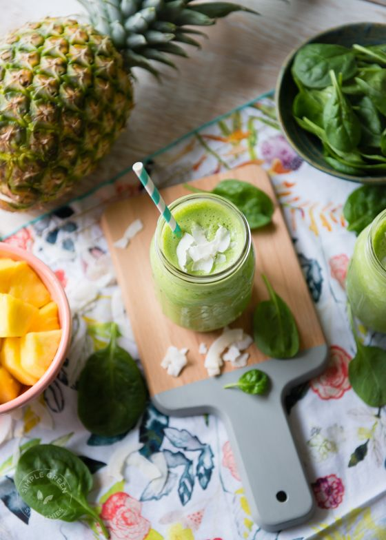 Pina Colada Green Smoothie2 cups spinach, fresh 1 cup coconut milk 1 cup water 2 tablespoons coconut flakes, unsweetened (optional) 3 cups pineapple, fresh