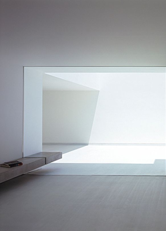 Interior view of the terrace, the White Cave House by Takuro Yamamoto Architects