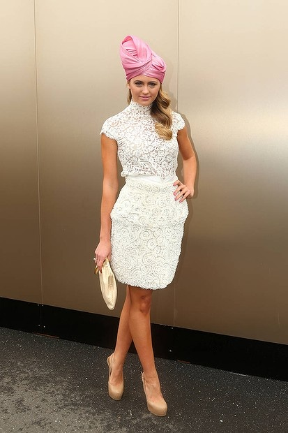 Jesinta Campbell poses for a photo in the birdcage)