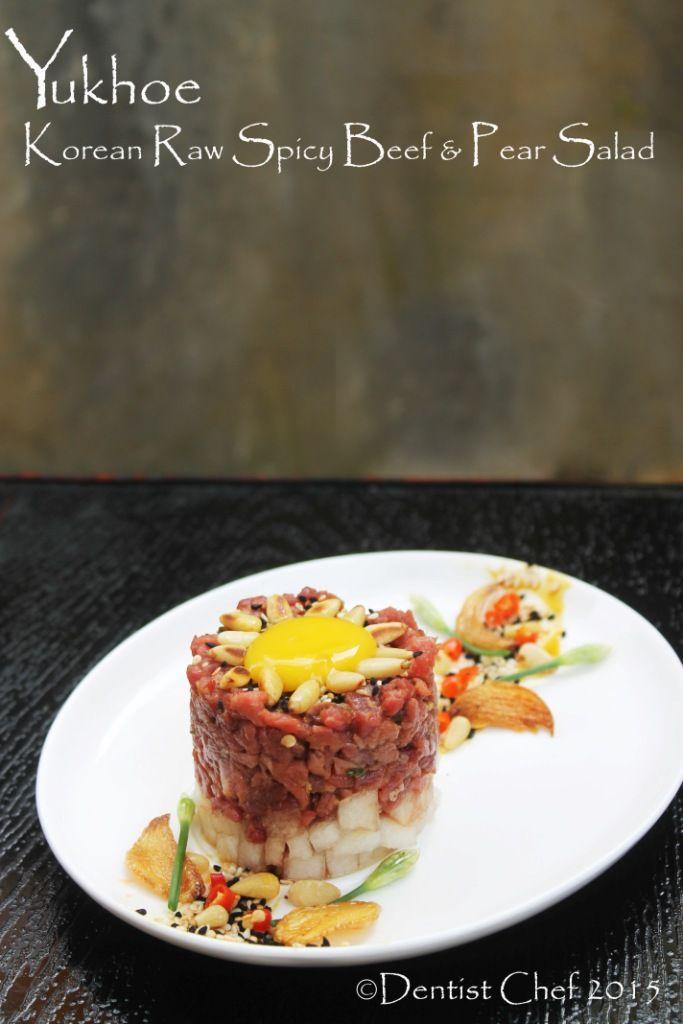 recipe yukhoe korea raw beef steak tartare pear sesame oil pine nuts garlic