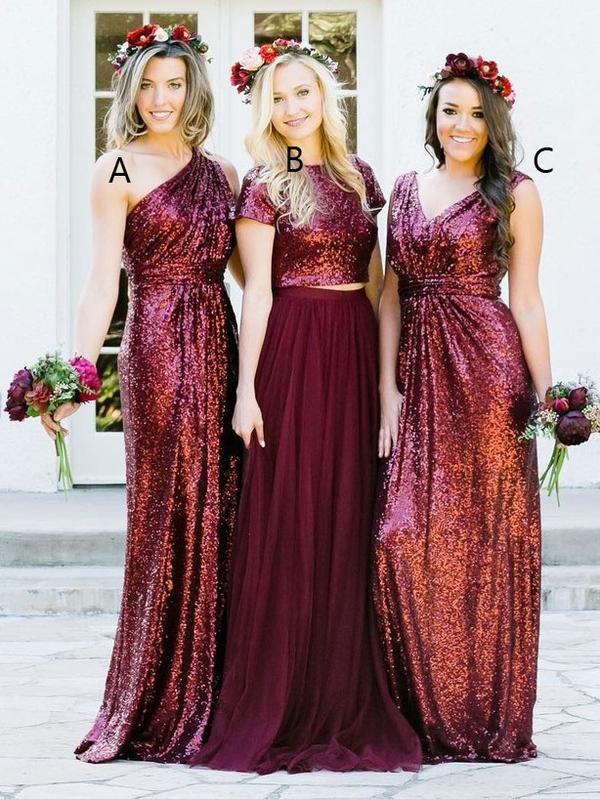 Burgundy Sequins Bridesmaid Dresses,Long Mismatched Bridesmaid Dresses APD3160
