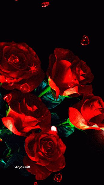 Red Roses and Red Crystal Floating Hearts