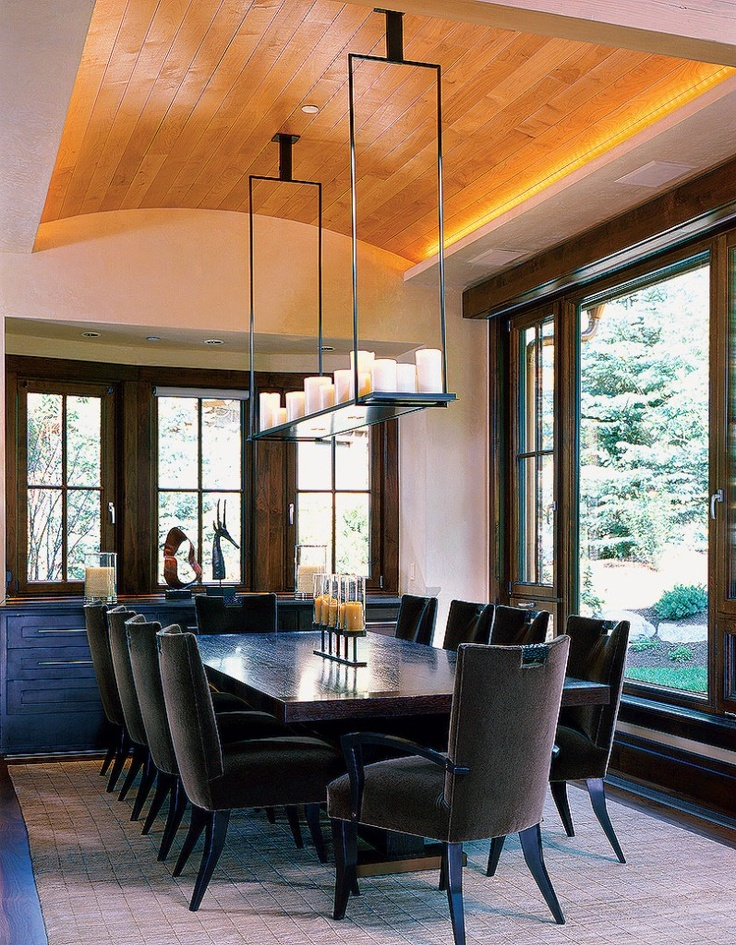 I love the mix of textures in this dining room from the for Barrel ceiling ideas