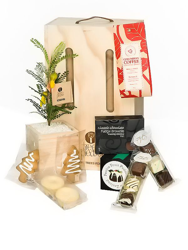 Treats to share and tree to grow forever. Xmas gift ideas delivered within NZ by Trees Please!