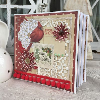 Hidden hinge scrapbooking mini album, ecoscrapbooking, christmas, scrap