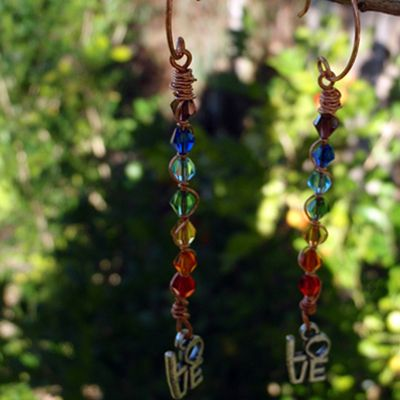 doinWire handcrafted copper wire Earrings handmade copper ear-wires, Swarovski chakra crystals, love word dangle. pic1of2 DOW025