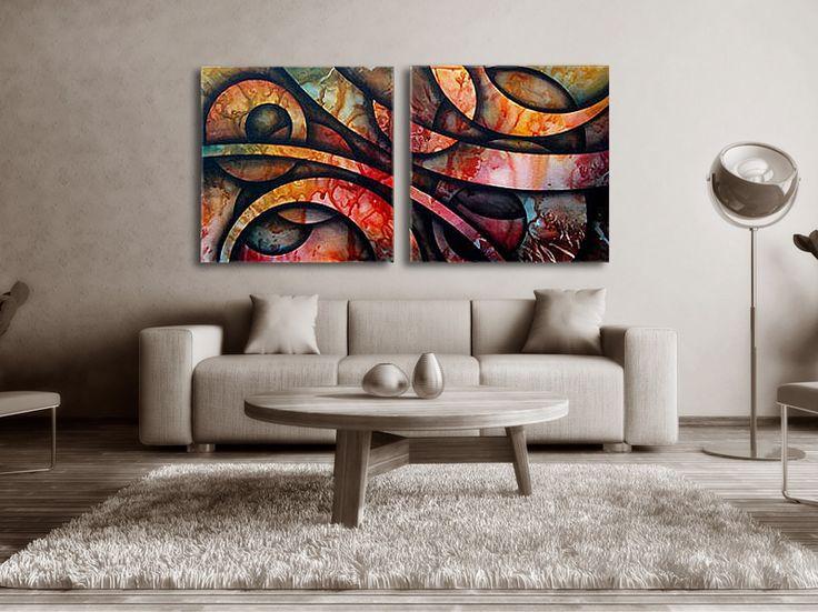 #Handmålad modern #abstrakt tavla i #grönt, #röda, #gula och #svarta nyanser. Tavlan passar i alla moderna hem och kontor. En handmålad tavla ger alltid ett mer uttrycksfull intryck. Tavlan består av #två delar. #Snygga #färger som är behagliga för ögat. Övervägande #brunt, röda, gula #nyanser.