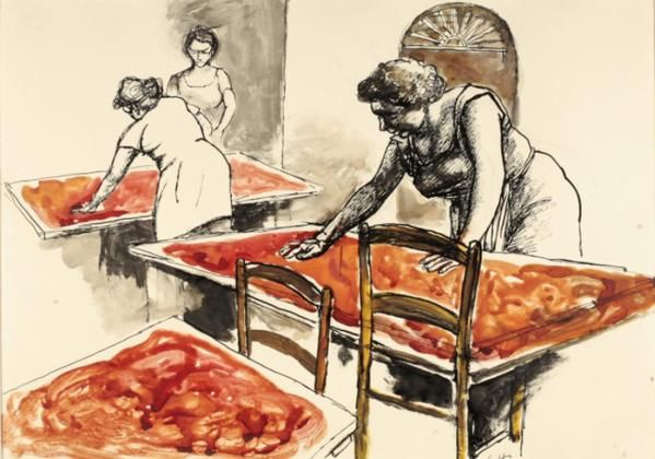 ~ Renato #Guttuso  'La passata di pomodori' 1976