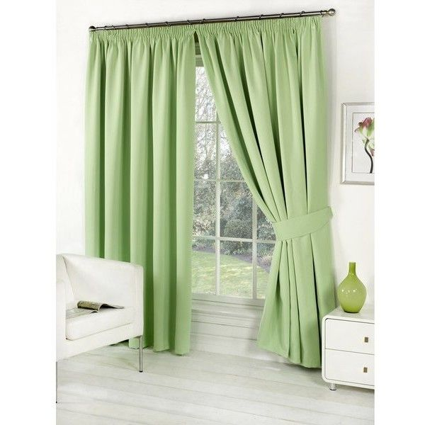 Dreamscene Blackout Pencil Pleat Curtains - Sage (53 BAM) ❤ liked on Polyvore featuring home, home decor, window treatments, curtains, green, sage curtains, sage green curtains, black out curtains, black out window treatments and blackout drapery