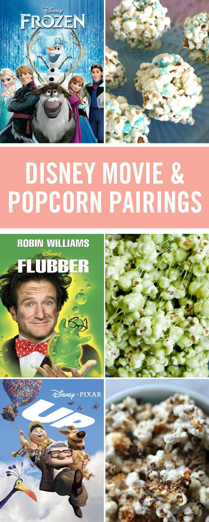 Nothing goes better with movie night than popcorn, but who knew there were so many ways to eat it?! These delicious recipes pair with your favorite Disney movies to make the perfect family movie night snacks from Green Slime Popcorn for Flubber to Rapunzel's Purple Popcorn for Tangled.