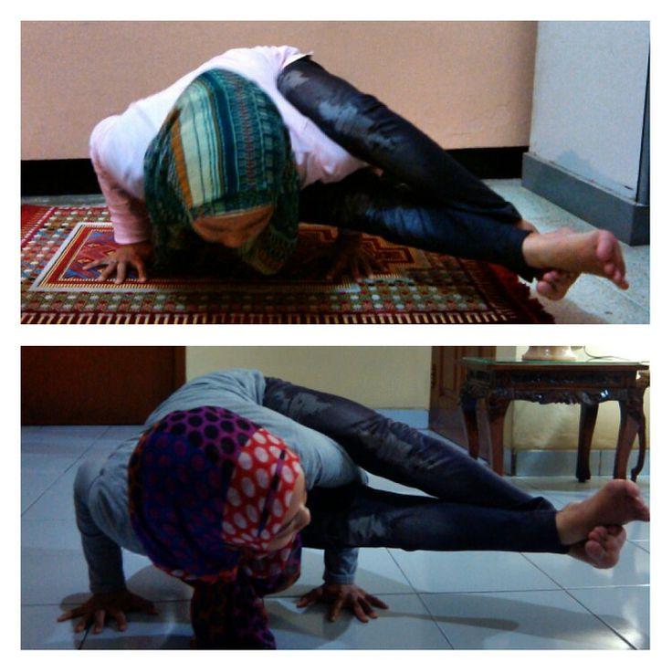 21 days ago aaand last night… #Namaste #YogaPractice #ArmBalance #ArmStrength #EightAnglePose
