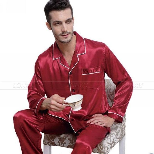 Mens Silk Satin Pajamas Pyjamas Set Sleepwear Set Loungewear