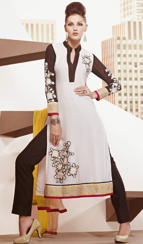 Off White Faux Georgette Churidar Suit Price: Usa Dollar $152, British UK Pound £90, Euro112, Canada CA$165 , Indian Rs8208.