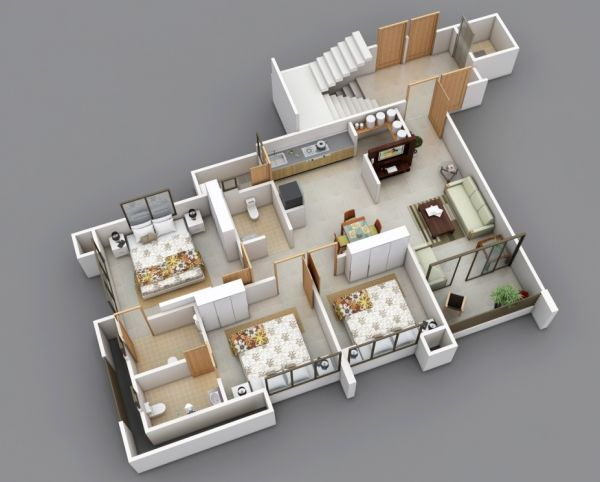Three equal bedrooms is an easy solution for a roommate situation, since rent can be split in perfect thirds.