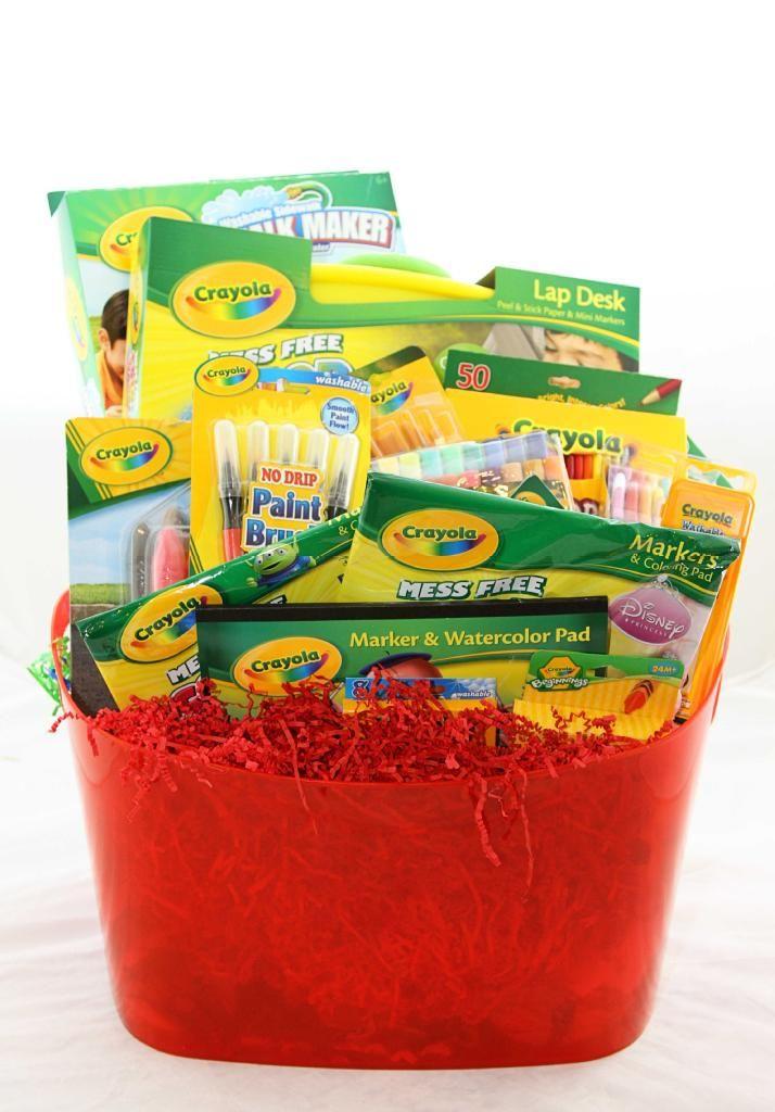 Cute idea for the class's Crayola/Crafty basket for the preschool fundraiser.