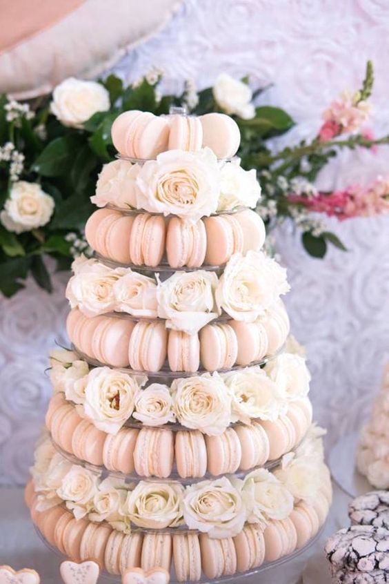 Soft pink macaron and rose tower from a Dreamy Swan Soiree.