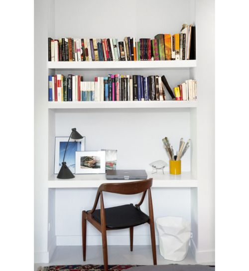 Built-ins for alcove incorporating a desk.