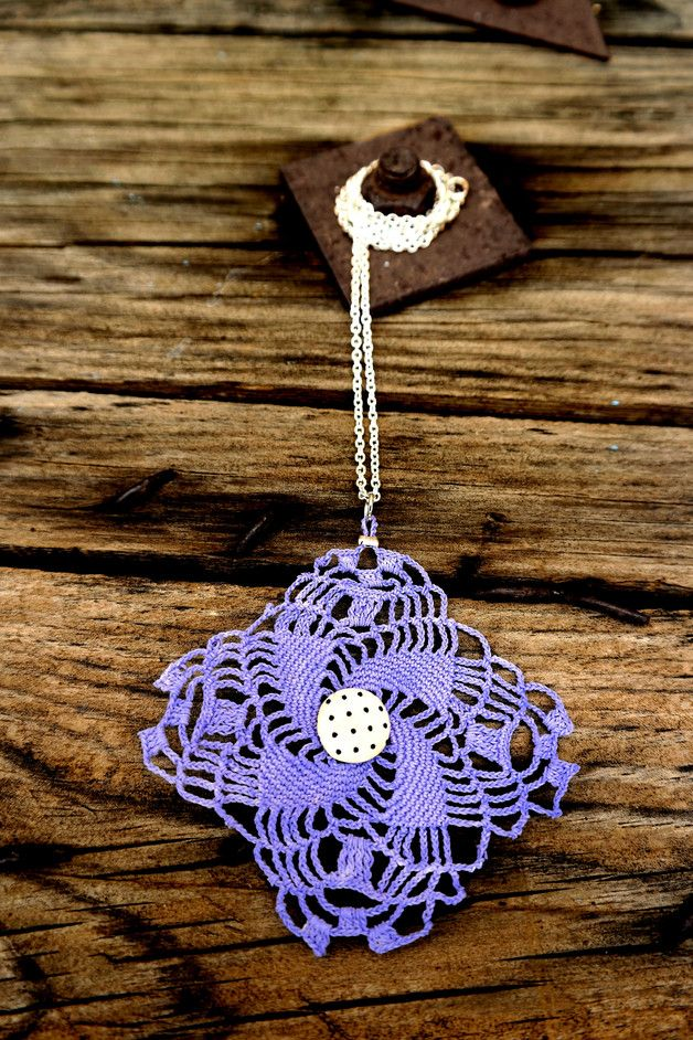 Fabric Necklaces – Purple Crochet necklace – a unique product by MiladyAccessories on DaWanda