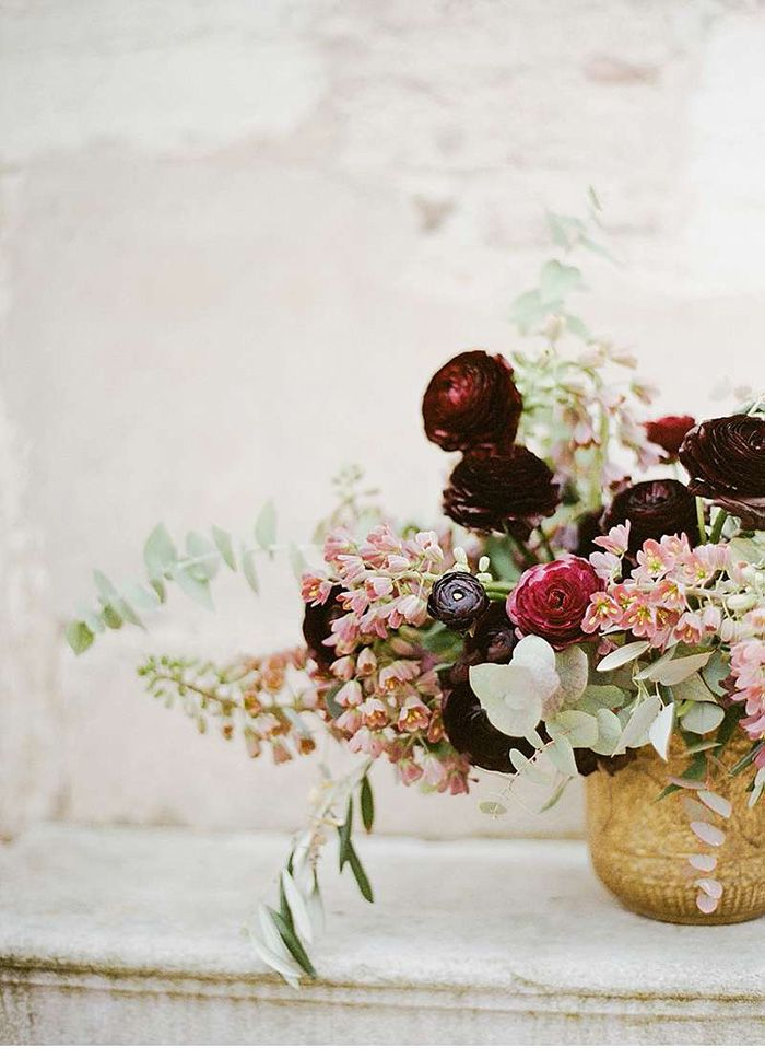 Burgundy and Blush Centerpiece in a Gold Vessel