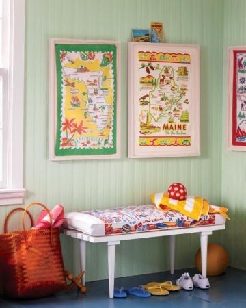 framed souvenir dish towels